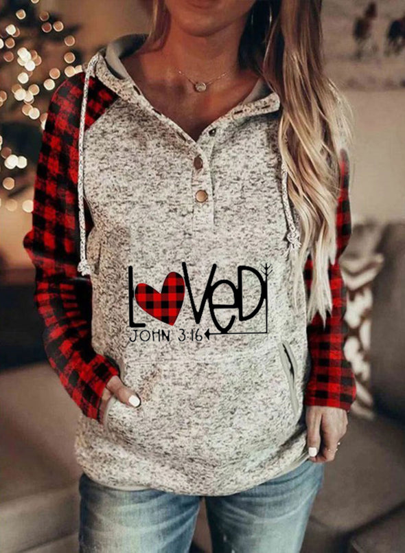 Gray Women's Hoodies Plaid Letter Print Long Sleeve Button Pocket Drawstring Casual Hoodie LC2536142-11