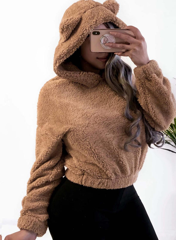 Brown Women's Pullovers Solid Long Sleeve Bear Hooded Casual Pullover LC2515132-17