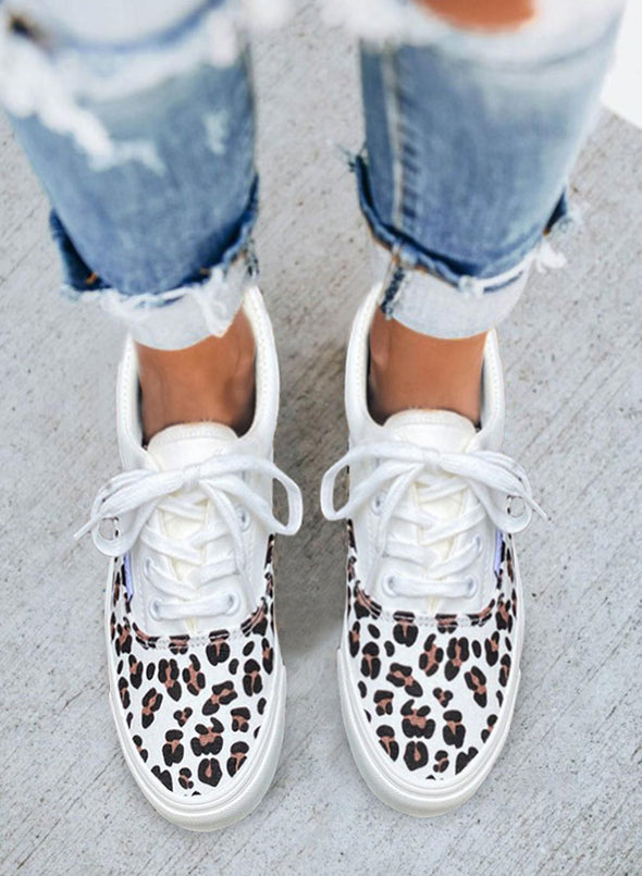 Leopard Women's Sneakers Leopard Flat Casual Synthe Leather Sneakers LC12832-20