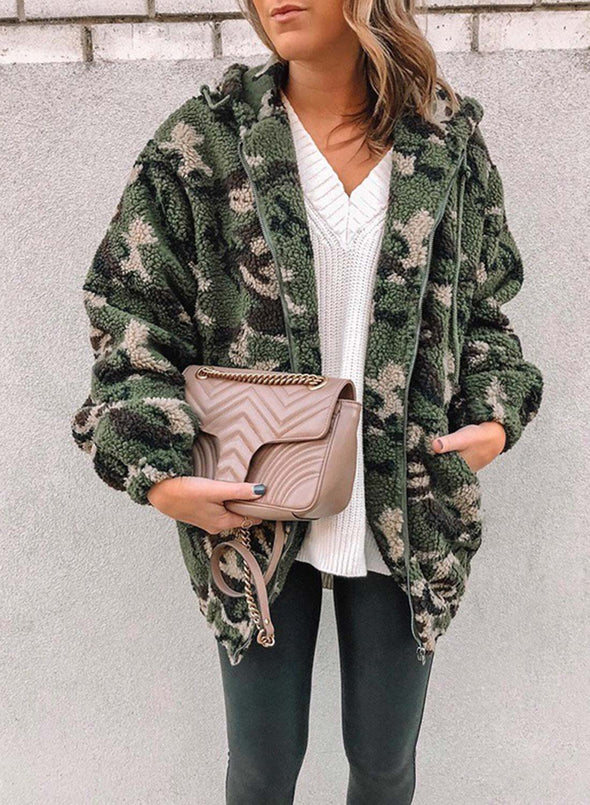 Green Women's Coats Fluffy Hooded Long Sleeve Camouflage Cotton Daily Pocket Zipper Coats LC8511243-9
