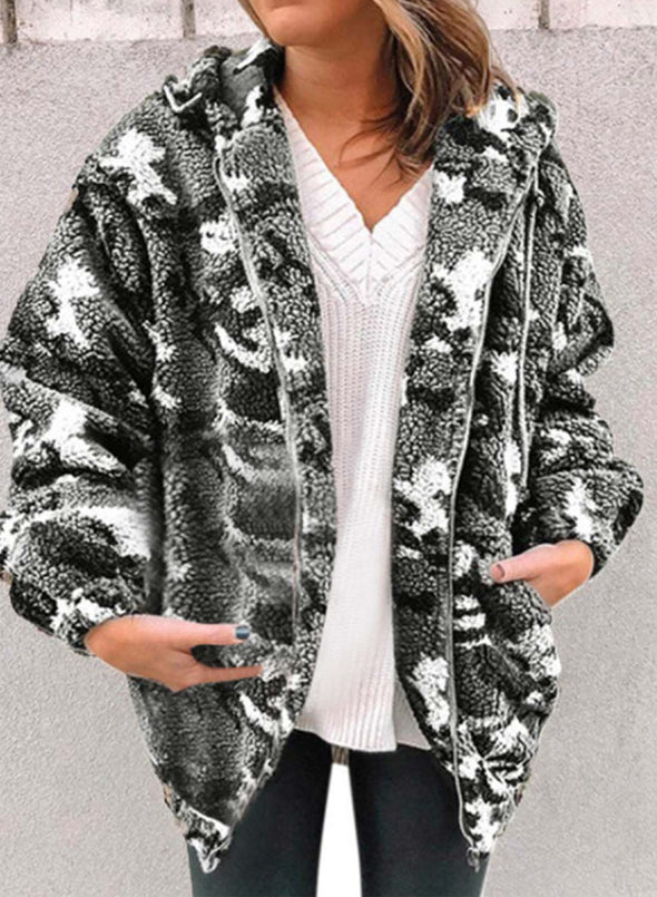 Gray Women's Coats Fluffy Hooded Long Sleeve Camouflage Cotton Daily Pocket Zipper Coats LC8511243-11