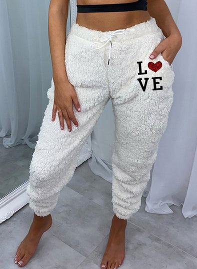 White Women's Joggers Letter Heart-shaped Print Holiday High Waist Daily Full Length Pocket Joggers LC771217-1