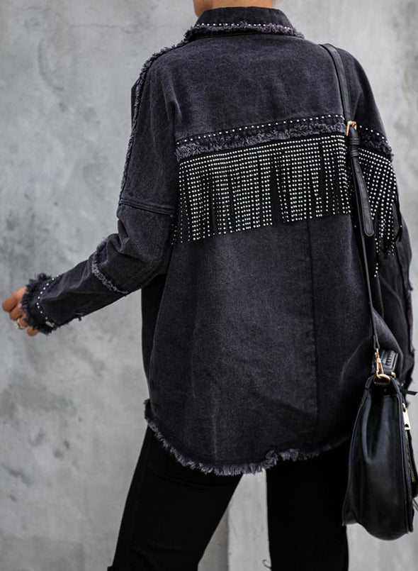Black Women's Jackets Solid Long Sleeve Turn Down Collar Fringed Denim Jacket LC8511248-2