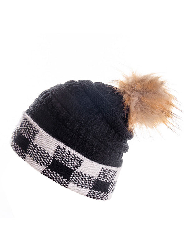 White Women's Hats Plaid Color Block Knitted Hat LC02315-1