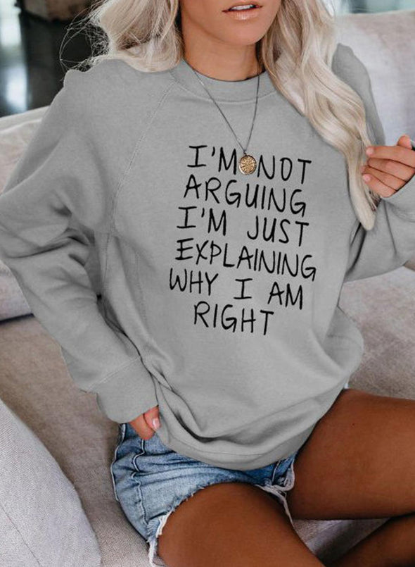Gray Women's Sweatshirts Daily Letter Print Long Sleeve Round Neck Sweatshirt LC2515167-11