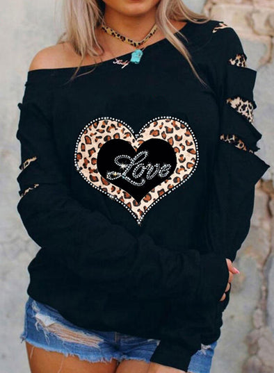 Black Women's Pullovers Leopard Print Long Sleeve Cold-shoulder Rhinestones Casual Pullover LC2515175-2