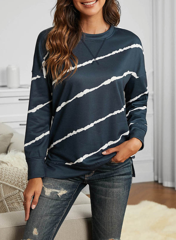 Blue Abstract Long Sleeve Round Neck Sweatshirt LC2532572-5