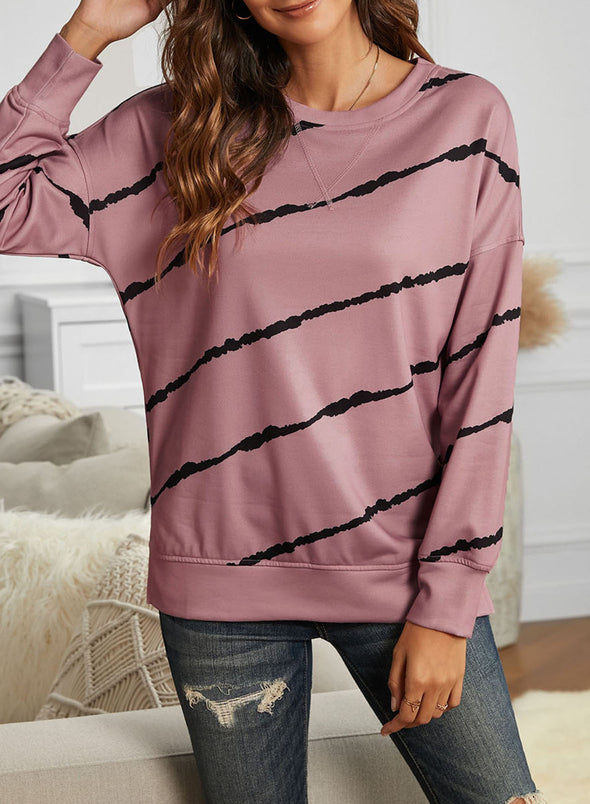 Pink Abstract Long Sleeve Round Neck Sweatshirt LC2532572-10