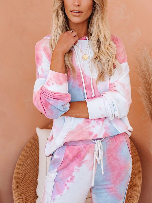 Pink Hooded Tie-Dye Printed Gradient Color Casual Sports Suit Women LC621351-10