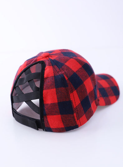 Red Women's Hats Color Block Plaid Cotton Baseball Cap LC02322-3