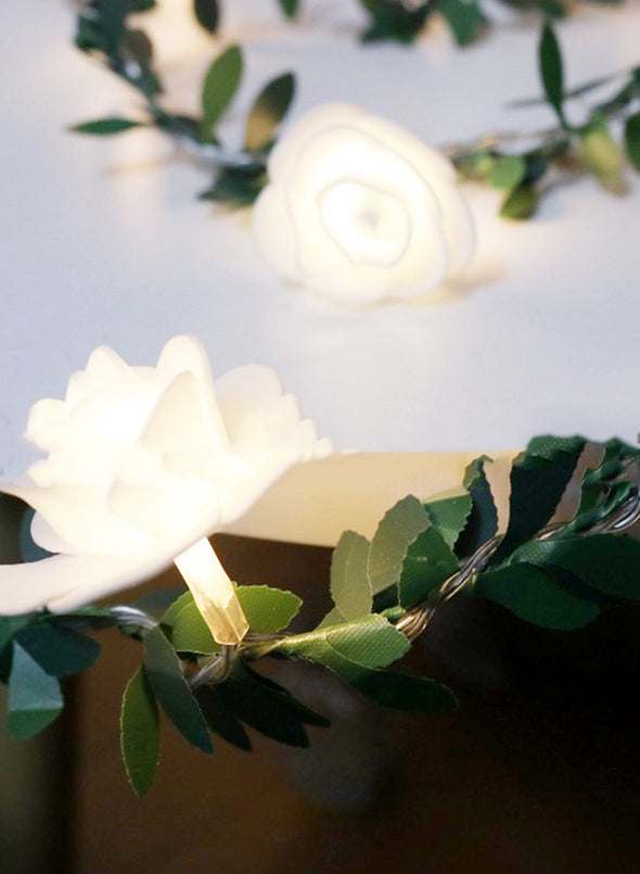 White Valentine's Day Green Leaf Cane Rose LED Lamp String LC011082-101