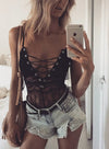 Black Women's Bodysuits Sleeveless Adjustable Wire-free Open Front Solid Lace Sexy Bodysuits LC34078-2