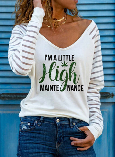 White Women's Sweatshirts V Neck Long Sleeve Solid Letter Daily Sweatshirts LC2515263-1