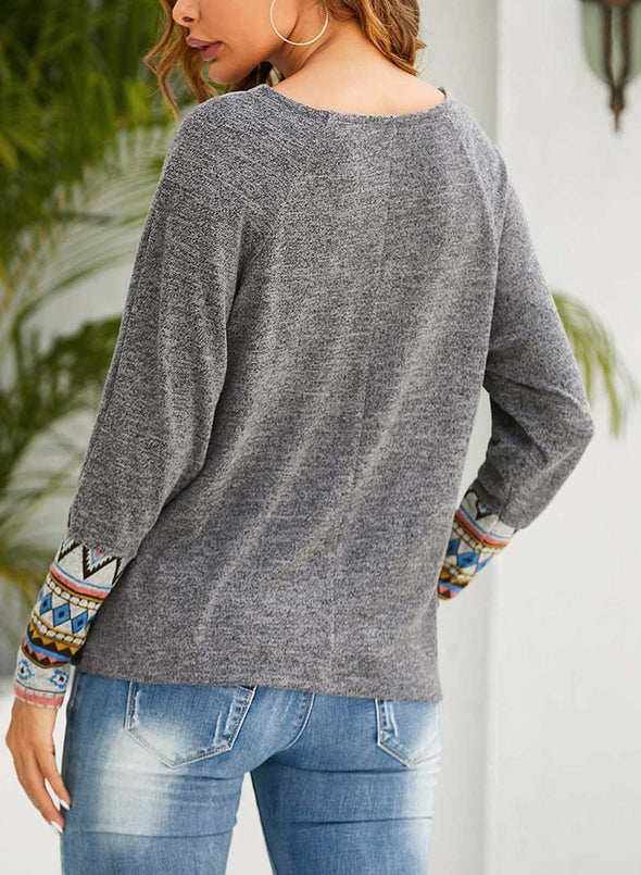 Gray Women's Sweatshirts V Neck Long Sleeve Solid Casual Sweatshirts LC2515267-11