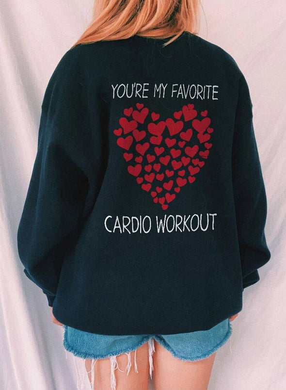 Black Women's Sweatshirts Letter Heart-shaped Print Long Sleeve Round Neck Casual Sweatshirt LC2536383-2