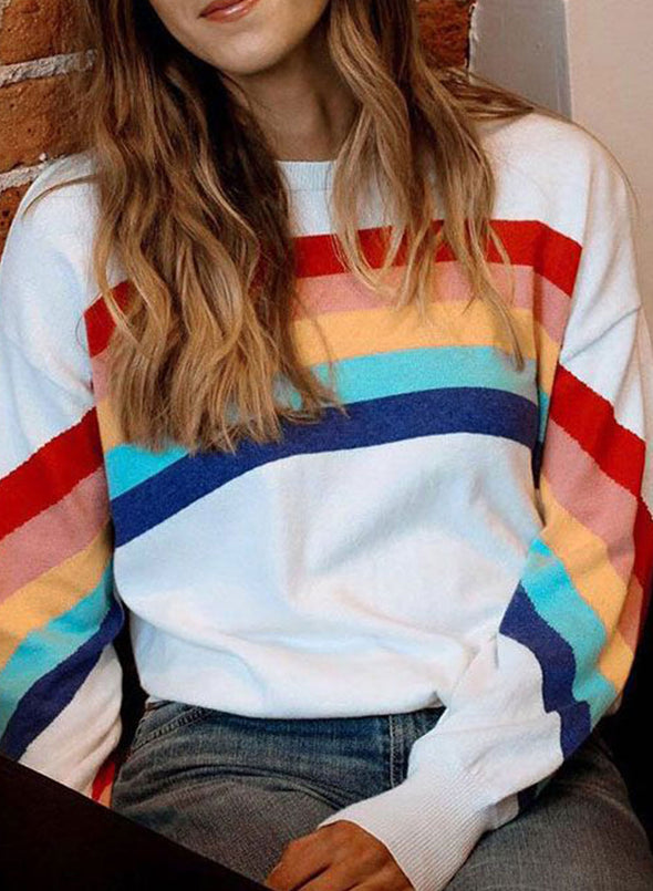 White Women's Sweatshirts Round Neck Long Sleeve Solid Rainbow Daily Casual Sweatshirts LC2536425-1