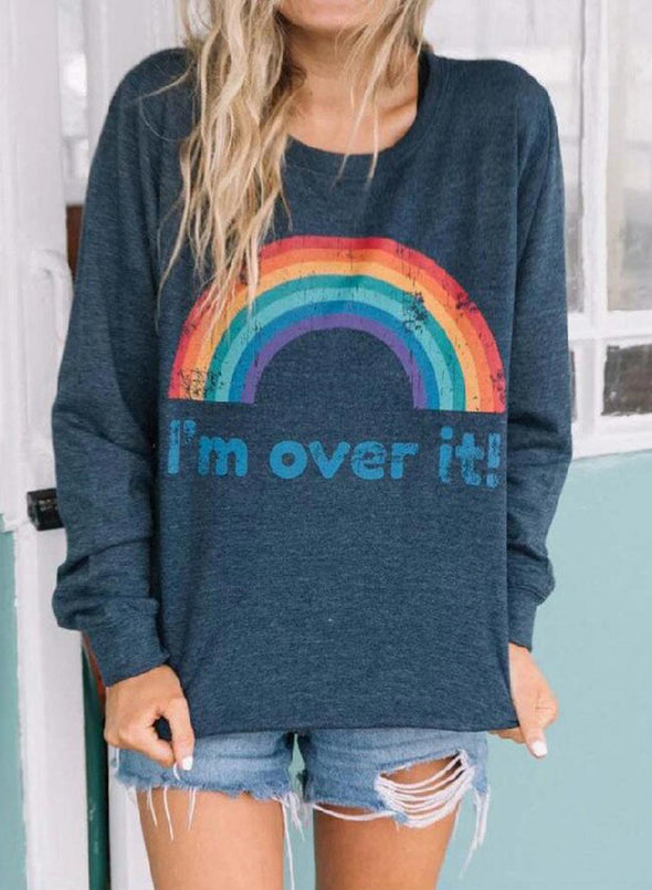 Blue Women's Sweatshirts Round Neck Long Sleeve Solid Rainbow Letter Daily Casual Sweatshirts LC2536462-5