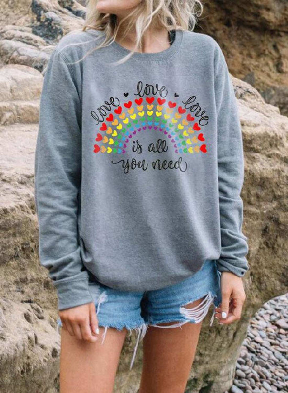 Gray Women's Sweatshirts Rainbow Striped Letter Long Sleeve Round Neck Casual Sweatshirt LC2515329-11