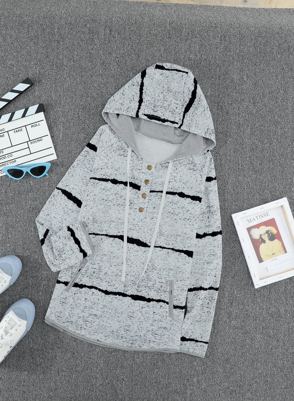 Gray Tye tie Striped Casual Hoodie LC2533086-11