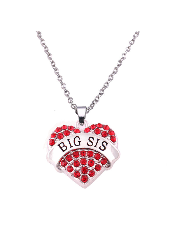 Red Women's Necklaces Letter Heart-shaped Rhinestone Alloy Necklace LC011114-3