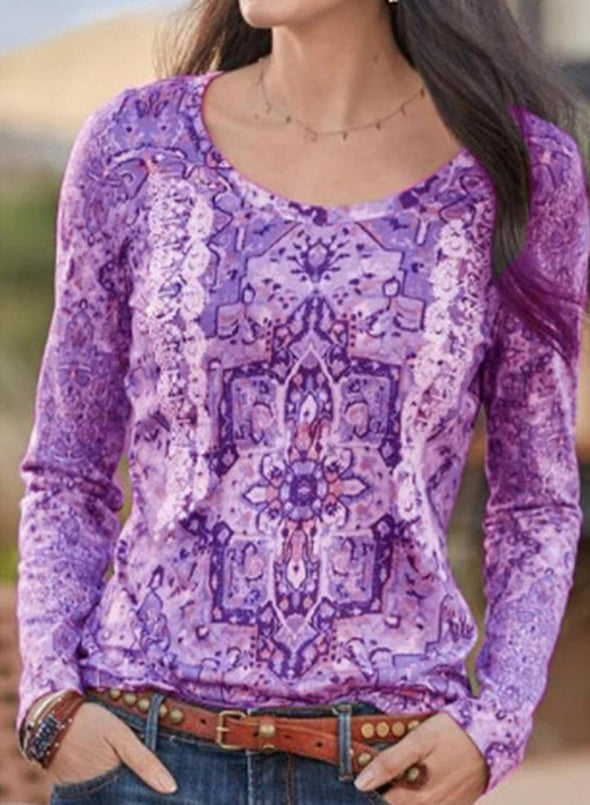 Purple Women's Blouses Tribal Long Sleeve Round Neck Daily Casual Blouse LC2515378-8
