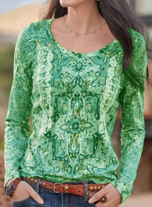 Green Women's Blouses Tribal Long Sleeve Round Neck Daily Casual Blouse LC2515378-9
