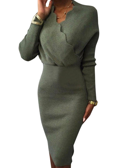 Green Women's Dress V Neck Long Sleeve High Waist Solid Knitted Dress LC224253-9