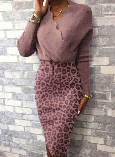 Pink Women's Dress V Neck Long Sleeve Solid Leopard Ruffle Bodycon Casual Dress LC224256-10