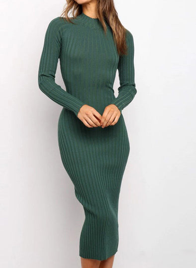 Green Women's Dress Crew Neck Long Sleeve Bodycon Solid Sexy Open-back Dress LC273116-9
