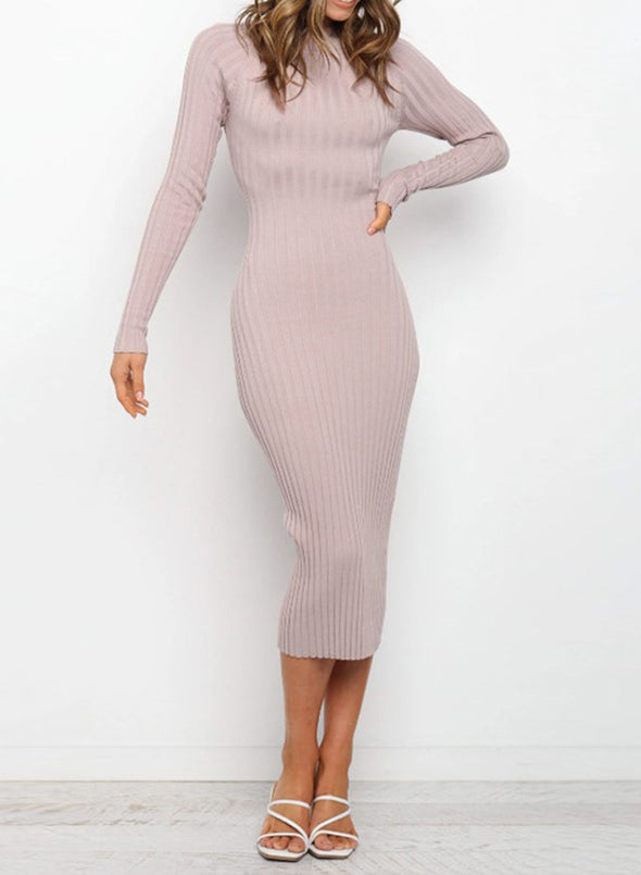 Pink Women's Dress Crew Neck Long Sleeve Bodycon Solid Sexy Open-back Dress LC273116-10