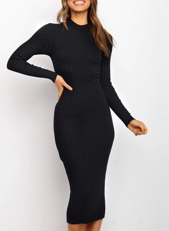Black Women's Dress Crew Neck Long Sleeve Bodycon Solid Sexy Open-back Dress LC273116-2