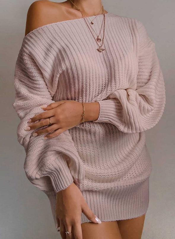 Pink Women's Dress Off-shoulder Long Sleeve Loose Solid Casual Mini Dress LC224267-10