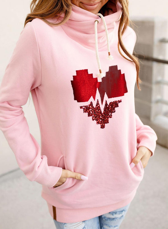 Pink Women's Hoodies Drawstring Turtleneck Long Sleeve Solid Love-shaped Abstract Hoodies With Pockets LC2536486-10