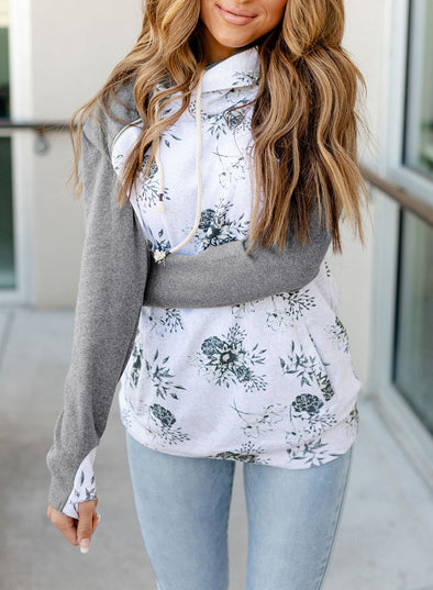 White Women Floral Zipper Sweatshirt with Pocket LC2533059-1