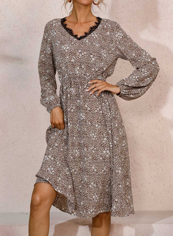 Brown Women's Midi Dresses Leopard Floral Lace Long Sleeve V Neck Casual Work Midi Dress LC224277-17