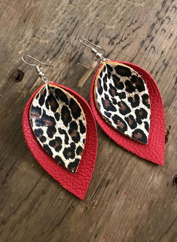 Red Women's Earrings Leopard Color-block PU Leather Fashion Earrings LC011122-3