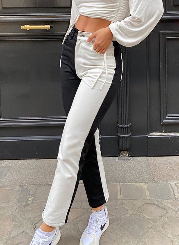 Black Women's Pants High Waist Color Block Straight Ankle-length Casual Joggers LC781311-2