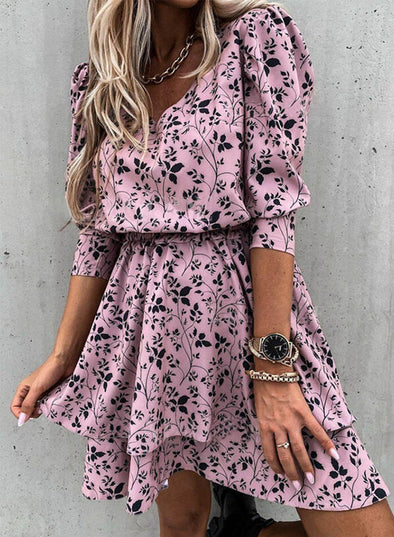 Purple Women's Mini Dresses Floral 3/4 Sleeve A-line Daily V Neck Casual Mini Dress LC224311-8