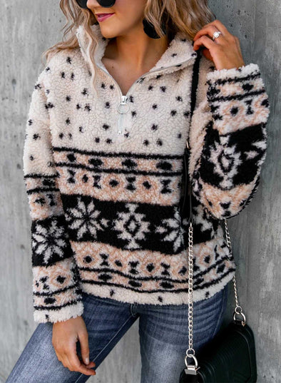 Apricot Women's Sweatshirts High Neck Long Sleeve Fur Tribal Zip Winter Casual Sweatshirts LC2536728-18