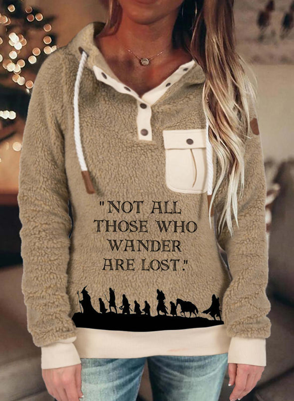 Khaki Women's Hoodies Drawstring Long Sleeve Solid Button Letter Casual Hoodies LC2536739-16