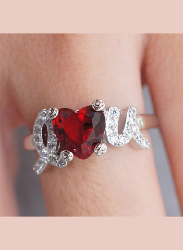 Red Women's Rings Valentine's Day I LOVE U Rings LC011396-3