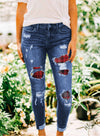 Red Cut-out Mid Waist Leopard Women Slim Jeans LC78194-3
