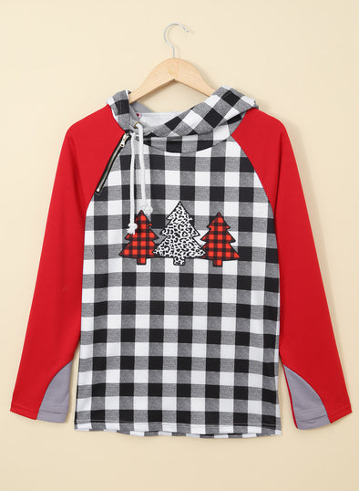 Red Color Block Autumn Festival Hoodie LC2532822-3
