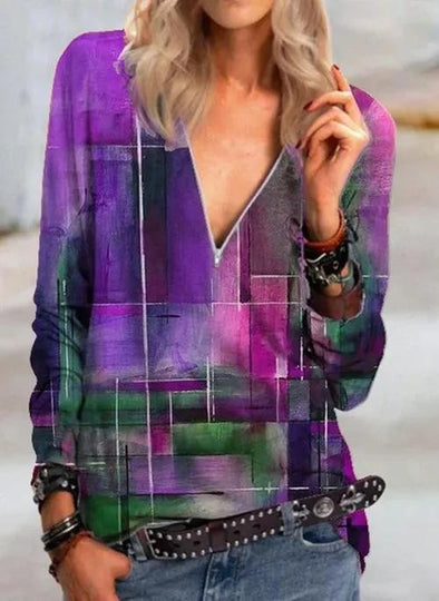 Purple SALE Color Block Casual V-nek Lange mouw Overhemd LC255762-8