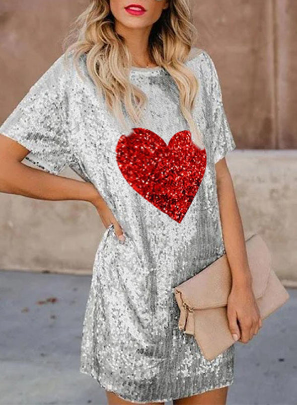 Silver Women's Dress Sequin Color Block Heart-shaped Round Neck Short Sleeve Daily Casual Mini Dress LC224475-13