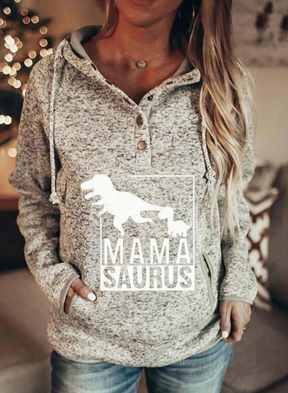 Gray Women's Hoodies Dinosaur Letter Long Sleeve Daily Casual Button Pocket Drawstring Hoodie LC2537041-11