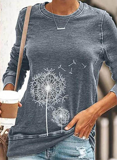 Gray Women's Pullovers Casual Solid Dandelion Round Neck Long Sleeve Daily Pullovers LC2515966-11