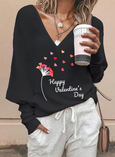 Black Women's Pullovers Casual Letter Solid V Neck Long Sleeve Daily Pullovers LC2515974-2