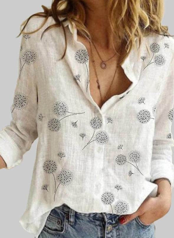 White Women's Blouses Floral Long Sleeve V Neck Daily Blouse LC255769-1