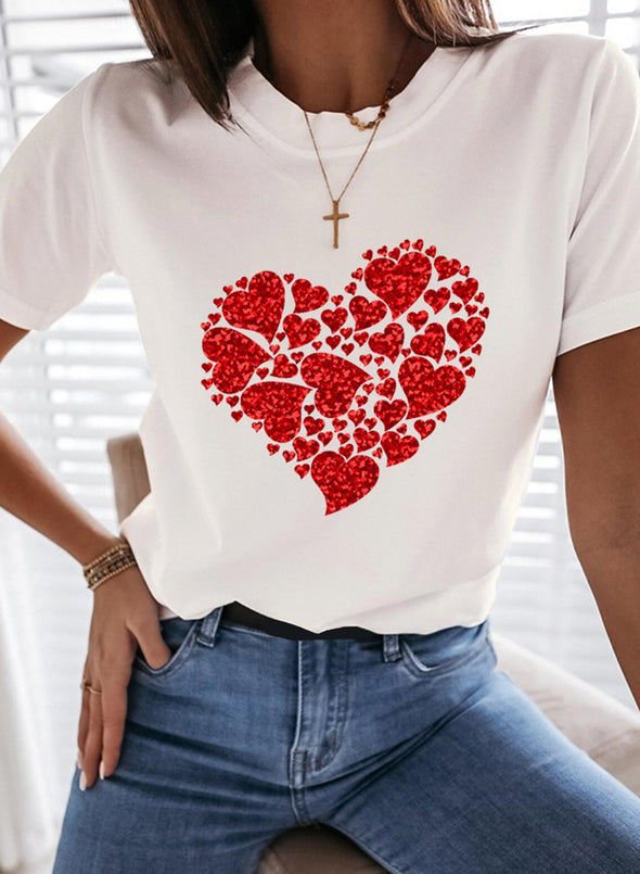 White Women's T-shirts Heart-shaped Sequin Short Sleeve Round Neck Casual T-shirt LC2523186-1